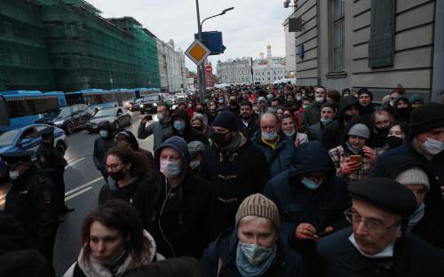 Несанкционированная акция в поддержку Алексея Навального в центре Москвы