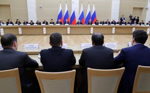 Встреча Владимира Путина с членами рабочей группы по подготовке предложений о внесении поправок в Конституцию РФ