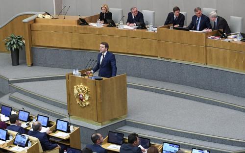 <p>Максим Орешкин&nbsp;на пленарном заседании Государственной думы</p>