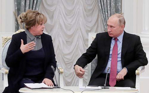 Председатель ЦИК РФ Элла Памфилова и Владимир Путин