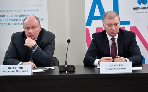 <p>Владимир Потанин (слева) и Муса Бажаев</p>