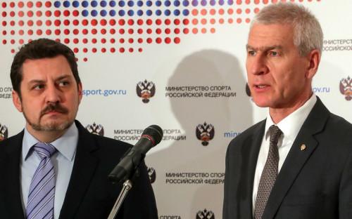 Президент Всероссийской федерации легкой атлетики (ВФЛА) Евгений Юрченко (слева) и глава министерства спорта России Олег Матыцин