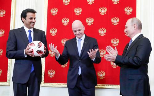 Эмир Катара Тамим бин Хамад Аль Тани, Джанни Инфантино иВладимир Путин (слева направо)