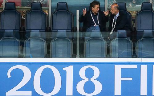 <p>Франция, обыграв Бельгию в полуфинале, повторила успех 1998 и 2006 годов. Для сборной Бельгии&nbsp;же это могло стать первым выходом в финал в истории. На фото: председатель правления ПАО &laquo;Газпром&raquo; Алексей Миллер (слева) перед началом игры</p>