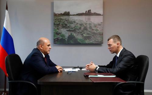 Михаил Мишустин и Михаил Дегтярев (слева направо)