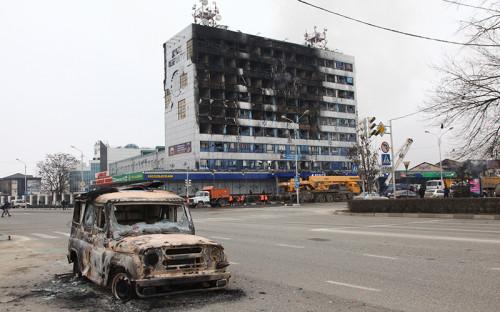 Здание Дома печати в Грозном, где прошла спецоперация по нейтрализации боевиков.