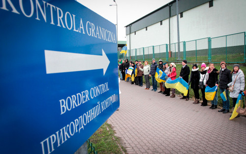 Митинг в поддержку интеграции с ЕС на границе с Польшей. Архив