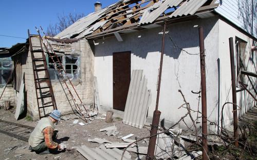 Село Спартак после обстрела