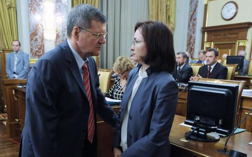 <p>Генеральный прокурор Юрий Чайка и глава ЦБ Эльвира Набиуллина</p>  <p></p>