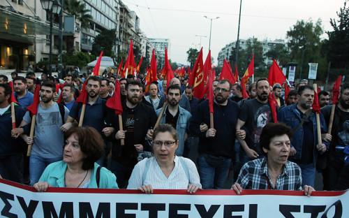 Демонстранты в столице Греции Афинах