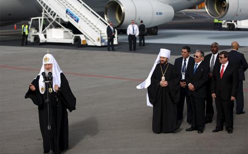 Патриарх Кирилл в аэропорту Гаваны после прилета на Кубу