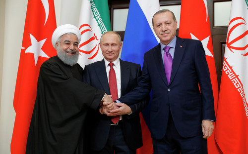 Хасан Роухани,Владимир Путини Реджеп Эрдоган (слева направо)