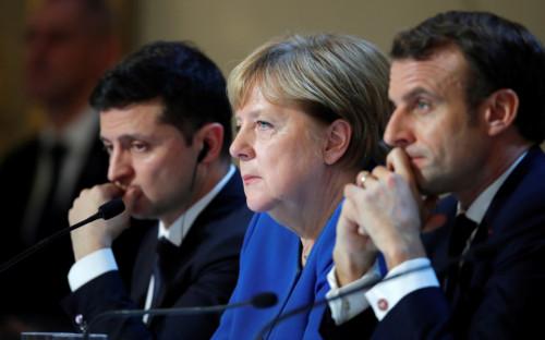 Владимир Зеленский, Ангела Меркель и Эмманюэль Макрон (слева направо)
