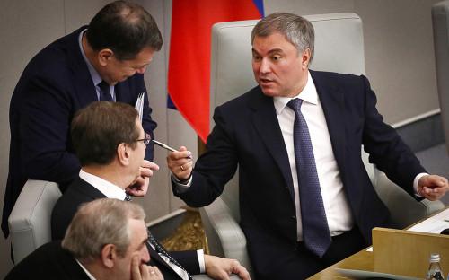 Сергей Неверов, Александр Жуков, Андрей Макаров и Вячеслав Володин