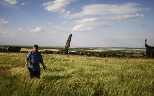 Местный житель около места падения военно-транспортного самолета ИЛ-76 ВВС Украины, сбитого ополченцами Луганска.