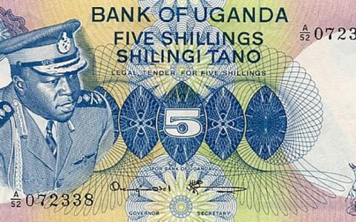"""<p>На лицевой стороне банкноты в пять угандийских шиллингов, которые были выпущены в 1980-х годах, изображен президент Уганды в 1971&ndash;1979 Дада Уме Иди Амин &mdash; любимый карикатуристами мира диктатор, специально удлинивший свой мундир, чтобы повесить на него побольше наград. Он&nbsp;пришел к власти в результате переворота и прославился жесткой националистической политикой, этническими чистками и геноцидом живущих на территории страны народов. <a href=""""https://www.theguardian.com/news/2003/aug/18/guardianobituaries"""">Согласно подсчетам</a>, проведенным после свержения Амина, жертвами его репрессий стали от 300 тыс. до 500 тыс. граждан 19-миллионной Уганды, не менее двух тысяч он убил лично, а некоторых своих жертв&nbsp;съел.</p>"""