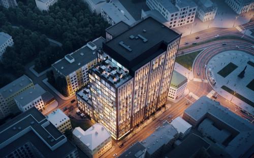 Вид на бизнес-центра класса А+ AFI2B. Визуализация AFI Development