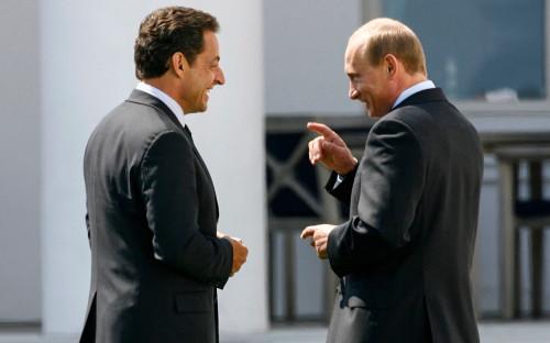 Николя Саркози и Владимир Путин на саммите «Большой восьмерки»