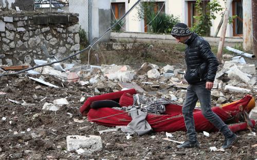 Разрушения после боев в Нагорном Карабахе