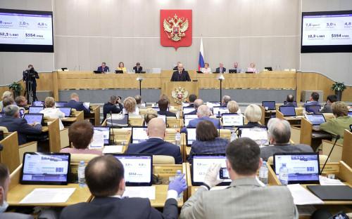 Михаил Мишустин во время ежегодного отчета перед парламентом