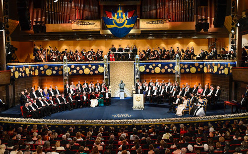 epa08060089 A general view over The Nobel Prize award ceremony at Stockholm Concert Hall, in Stockholm, Sweden, 10 December 2019. EPA/Henrik Montgomery SWEDEN OUT
