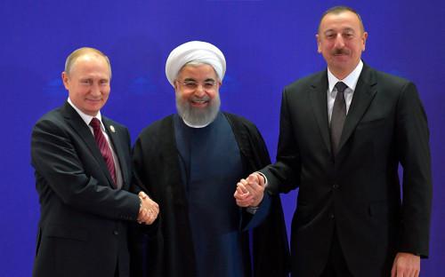Владимир Путин,Хасан Рухани и Ильхам Алиев(слева направо)