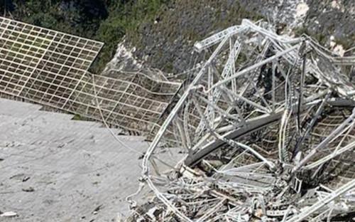 Упавший телескоп обсерватории «Аресибо»