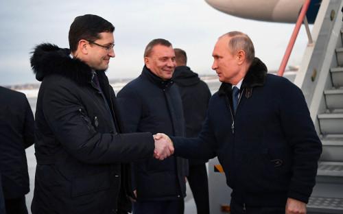 Губернатор Нижегородской области Глеб Никитин,Заместитель Председателя Правительства Юрий Борисов и Владимир Путин