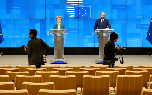 Урсула фон дер Лейен и Чарльз Мишель после видеоконференции с лидерами G7<br /> <br /> &nbsp;