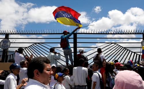 Акция оппозиции, требующей доставки гуманитарной помощи в Венесуэлу