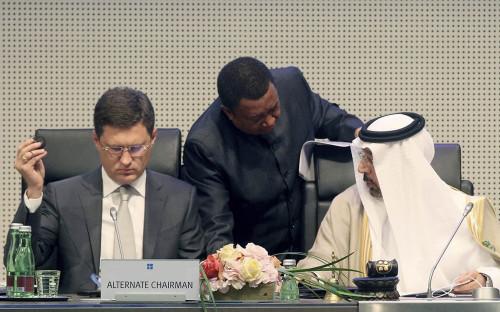 <p>Министр энергетики России Александр Новак,&nbsp;секретарь ОПЕК Мухаммед Баркиндо и&nbsp;министр энергетики Саудовской Аравии Халид аль-Фалих&nbsp;</p>  <p></p>  <p></p>