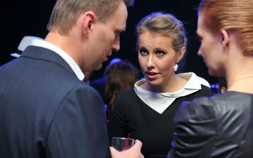 Алексей Навальный (слева) и Ксения Собчак