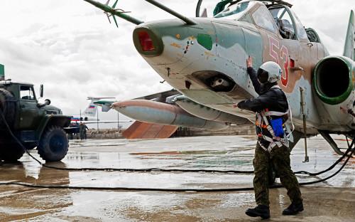 Штурмовик Су-25 ВКС России на авиабазе Хмеймим. 2016 год