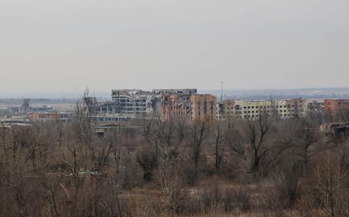 Донецк. Вид на разрушенные здания в Киевском районе