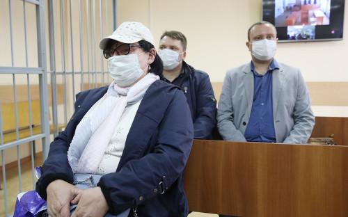 Надежда Архипова, Александр Круглов и Роман Дунаев (слева направо) во время оглашения приговора в Солнцевском суде