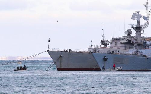 Военные корабли, принадлежащие Украине, в Стрелецкой бухте
