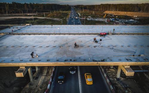 Строящаяся развязка на пересечении Центральной кольцевой автомобильной дороги и Калужского шоссе