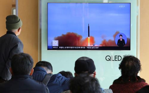 Видео запускасеверокорейской ракеты на телевидении Южной Кореи
