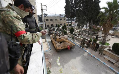 Турецкие солдаты вгородеАфрин в Сирии