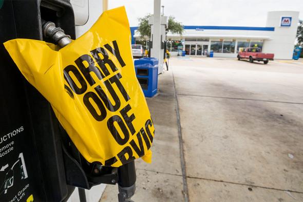 Одна из заправок в Уэст-Палм-Бич во Флориде, на которой закончился бензин