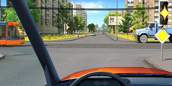 Извините, но у нас трамвай и желтый мигающий светофор. Что надо делать?