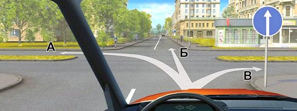 Возвращаемся в город. По каким направлениям можно двигаться на таком хитром перекрестке?