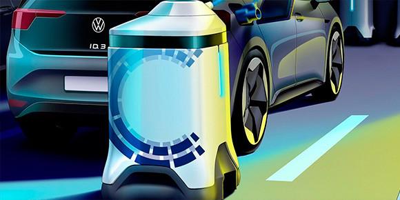 Немного усложним. Volkswagen разработал новую концептуальную систему с небольшими мобильными роботами, которые будут ездить по парковке и обслуживать автомобили. Что они смогут делать?