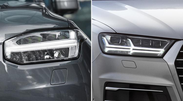 Характерные светодиодные огни в форме буквы Т шведская Volvo называет «Молот Тора». Это характерное отличие новых моделей компании. А если «Молот Тора» двойной, как на правом фото, то это: