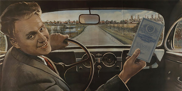 Плакат 1950 года «Накопил и машину купил» рекламирует не автомобили, а сберкнижки, но намекает на вполне конкретное транспортное средство. Какое именно?