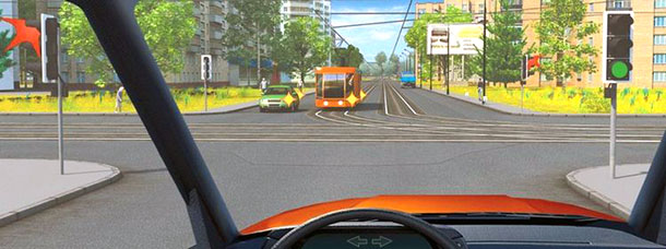 Теперь трамвай и довольно типичная схема движения. Кому уступать, если нужно проехать прямо?