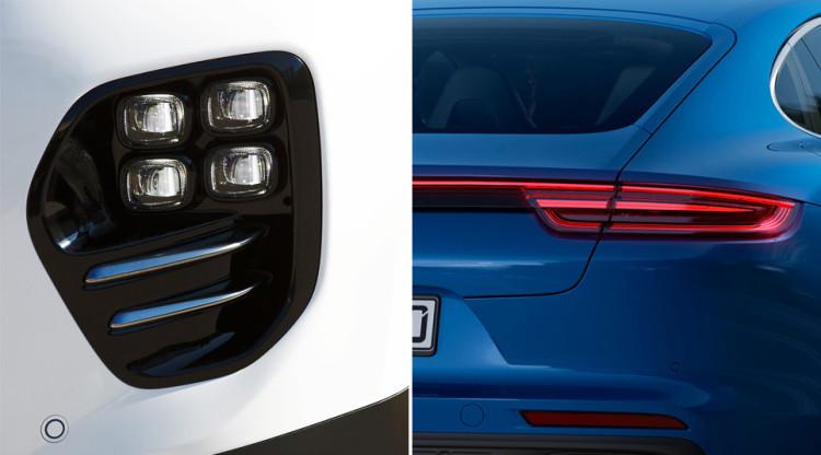 Какая автомобильная марка использует комбинацию из четырех крупных светодиодов и соединяет задние фонари перемычкой?