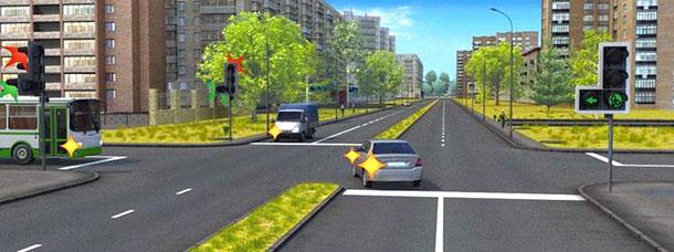 Похожая ситуация, но со светофором (это важно). При выполнении какого маневра водитель легкового автомобиля имеет преимущество?