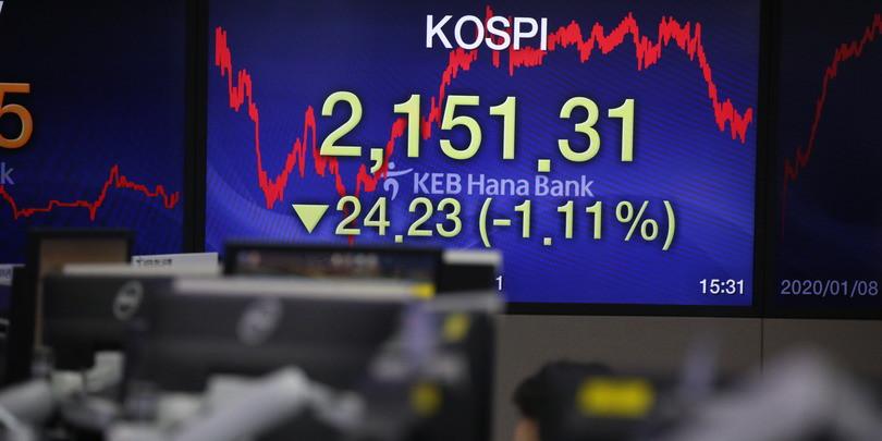 Падение котировок на фондовой бирже Сеула на фоне конфронтации США и Ирана