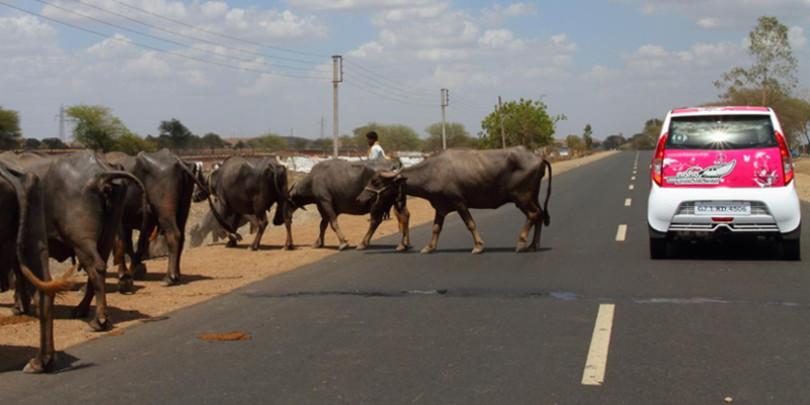 Автомобиль Tata на дороге в Индии